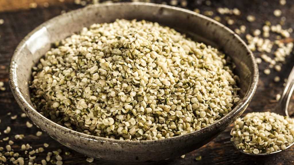 Healthy Organic Hulled Hemp Seeds in a Bowl