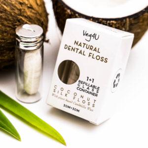 Natūralus dantų siūlas kokosinis šilkinis, Veg4U