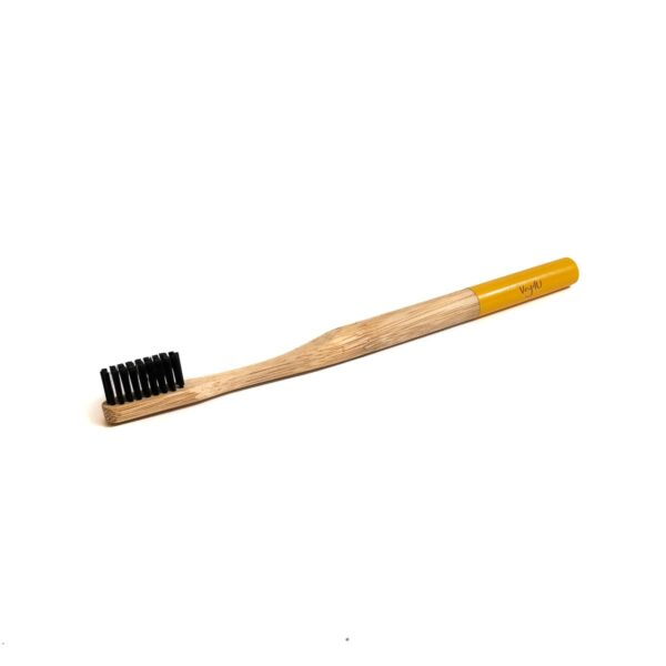 Bambukinis dantų šepetėlis geltonu koteliu, Veg4U