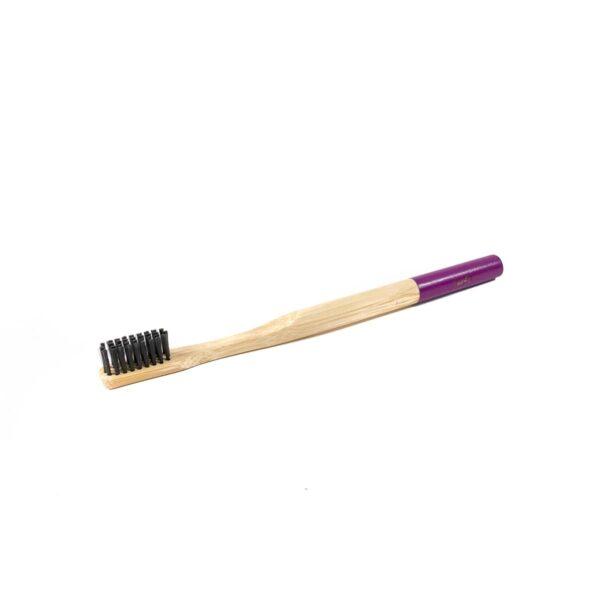 Bambukinis dantų šepetėlis violetiniu koteliu, Veg4U