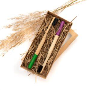 Bambukinių dantų šepetėlių rinkinys Green and Purple, VEG4U