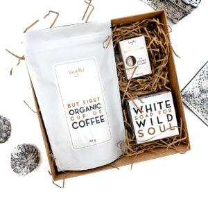 Dovanų rinkinys Organic kava, natūralus muilas, natūralus dantų siūlas, VEG4U