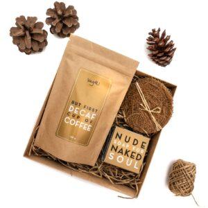 Rinkinys decaf kava, nude muilas, kokosų pluošto kempinelė, Veg4U
